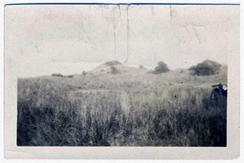 Photograph of the mound battery at Fort Fisher, 1917.  Item H.1917.35.4, from the collection of the N.C. Museum of History.  Used courtesy of the N.C. Department of Cultural and Natural Resources.