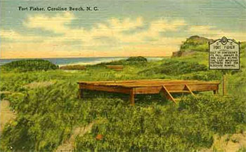 Postcard image of fishing pier at Fort Fisher, ca. 1930. Item H.19XX.191.77, collection of the N.C. Museum of History. Used courtesy of the N.C. Department of Cultural and Natural Resources.