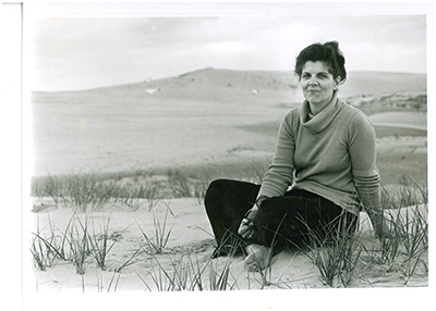 Photograph of Carolista Baum, ca. 1973.  Baum formed the People to Preserve Jockey's Ridge in 1973 in an effort to protect the dunes from development. North Carolina State Parks Collection.