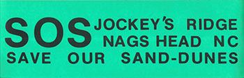 Photograph of bumper sticker used during the 1970s campaign to preserve Jockey's Ridge. North Carolina State Parks Collection.