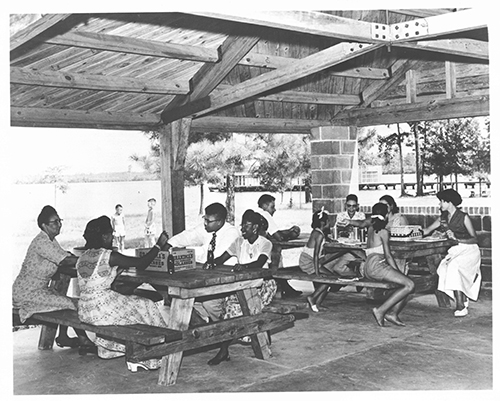 Photograph of family reunion at Jones Lake State Park, ca. 1945. From the collection of North Carolina State Parks.