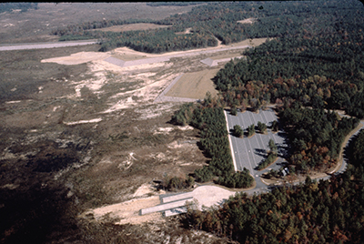 Arial view of White Oak area and marina  before impoundment of the lake, ca. 1981, Jordan Lake State Recreation Area.  NC Division of Parks and Recreation.