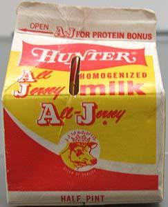 Color photograph of a milk carton from Hunter Jersey Farms, Inc., Charlotte, N.C. From the collections of the North Carolina Museum of History. Used courtesy of the North Carolina Department of Cultural Resources.