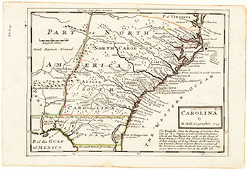"""Carolina"", map by Herman Moll, 1729.  From the North Carolina Collection, Wilson Library, UNC-Chapel Hill.  Presented on NC Maps."