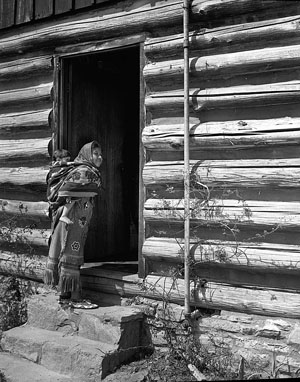 Mother and child in papoose, Qualla Boundary, 1941. From the N.C. Department of Commerce, Travel & Tourism Photos, State Archives of N.C.  Image under copyright.