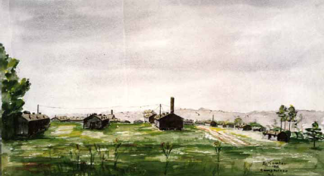 "Prisoners often made items to trade, sell, or give away. This watercolor landscape of the barracks at Camp Butner was painted in 1945 and signed ""E Kamler."" It came to the North Carolina Museum of History by way of the niece of a guard at that camp, who may have purchased it or received it as a gift."