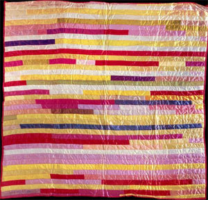 Funeral ribbon quilt, made from the ribbons from the funeral of Margaret Irene Wicker in 1958, Lee County, N.C. From the collections of the North Carolina Museum of History, used courtesy of the North Carolina Department of Cultural Resources.