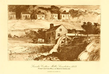 Image of the Lincoln Cotton Mills, Lincolnton [N.C.] 1813, from E. Everton Foster's <i>Lamb's Textile Industries of the United States,</i> published 1916 by James H. Lamb, Boston.