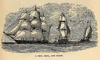 """A Ship, Brig, and Sloop."" Engraved image, from <i>Geography for Beginners,</i> K. J. Stewart.  Published 1864 by J. W. Randolph, Richmond, Va."