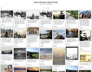 Images of North Carolina's state parks, N.C. Government & Heritage Library State Parks Pinterest board.