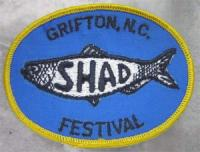 Photograph of a fabric patch for the Grifton, N.C. Shad Festival, from the collections of the North Carolina Museum of History.  Used courtesy of the North Carolina Department of Cultural Resources.