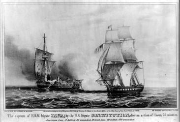 "Lithograph image of ""The Capture of HBM frigate Java by the U.S. frigate Constitution after an action of 1 hour, 55 minutes,"" by Sarony & Major, c. 1846. From the Library of Congress Prints & Photographs Online Catalog."