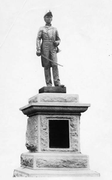 Photograph of Statue of Otway Burns, Burnsville, North Carolina, circa 1900-1915.  Otway Burns was a naval hero in the War of 1812.  Item H.19XX.135.148, from the collections of the North Carolina Museum of History.  Used courtesy of the North Carolina Department of Cultural Resources.