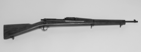 """Victory"" training rifle, ca. 1942. Because of a weapons shortage in the early months after the United States entered World War II, this nonfiring rifle was made by the thousands of soldiers learning how to drill."