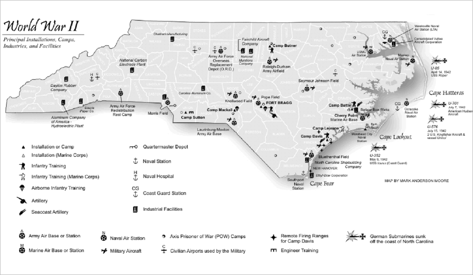 Major military installations and other sites in North Carolina during World War II. Image from The Way We Lived in North Carolina, edited by Joe A. Mobley. Copyright 2003 by the University of North Carolina Press. Published in association with the Office of Archives and History, North Carolina Department of Cultural Resources. Used by permission of publisher, http://uncpress.unc.edu.