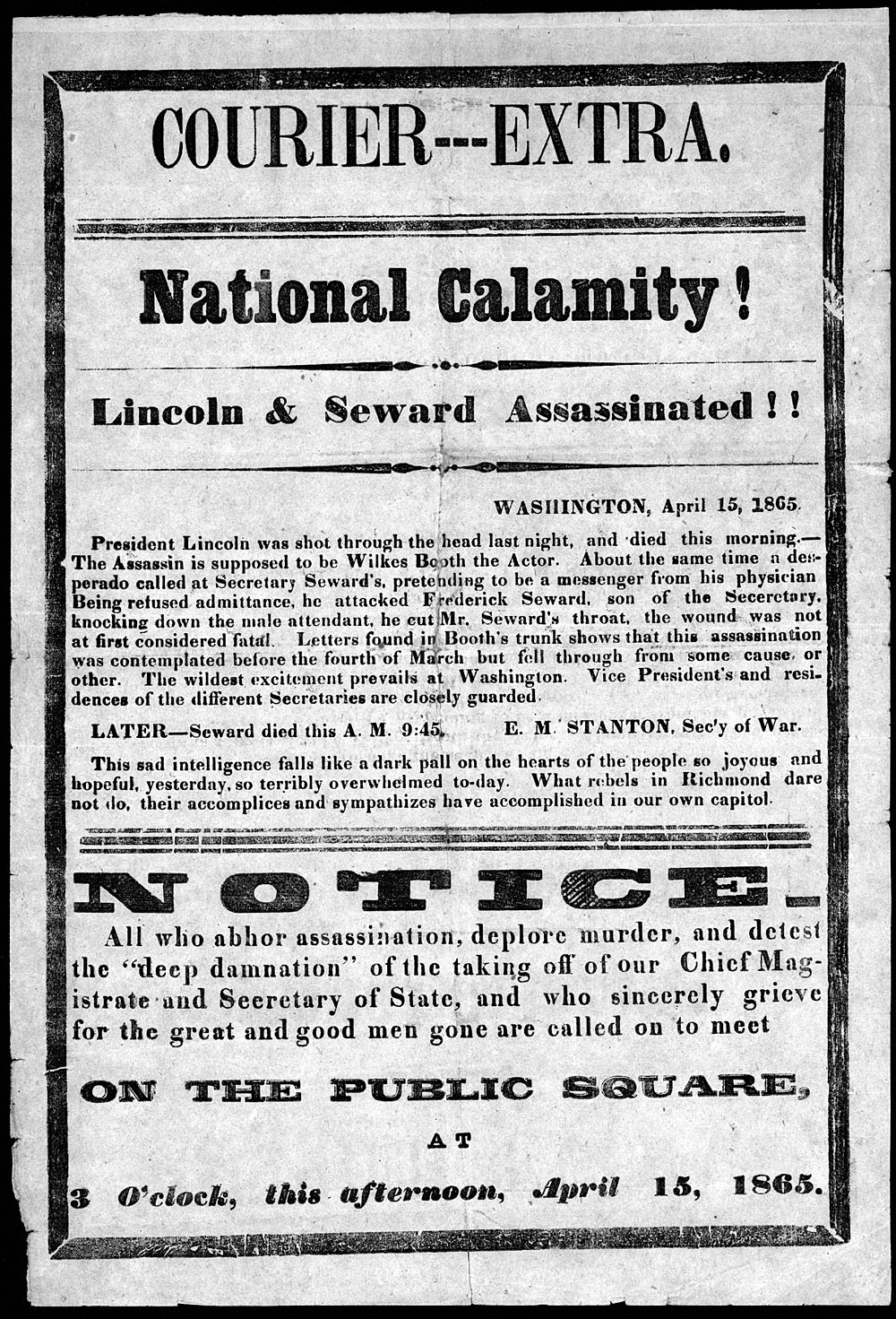 National calamity! Lincoln and Seward assassinated