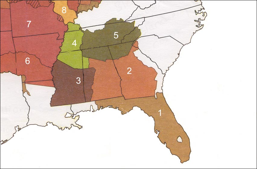 Land occupied by southeastern tribes, 1820s