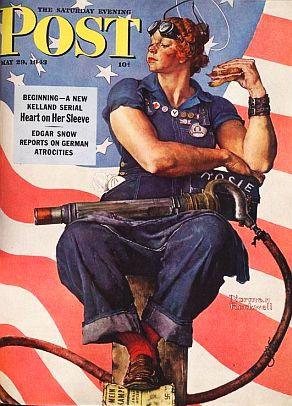 "Norman Rockwell's painting of ""Rosie the Riveter"" appeared on the cover of the Saturday Evening Post in May 1943."