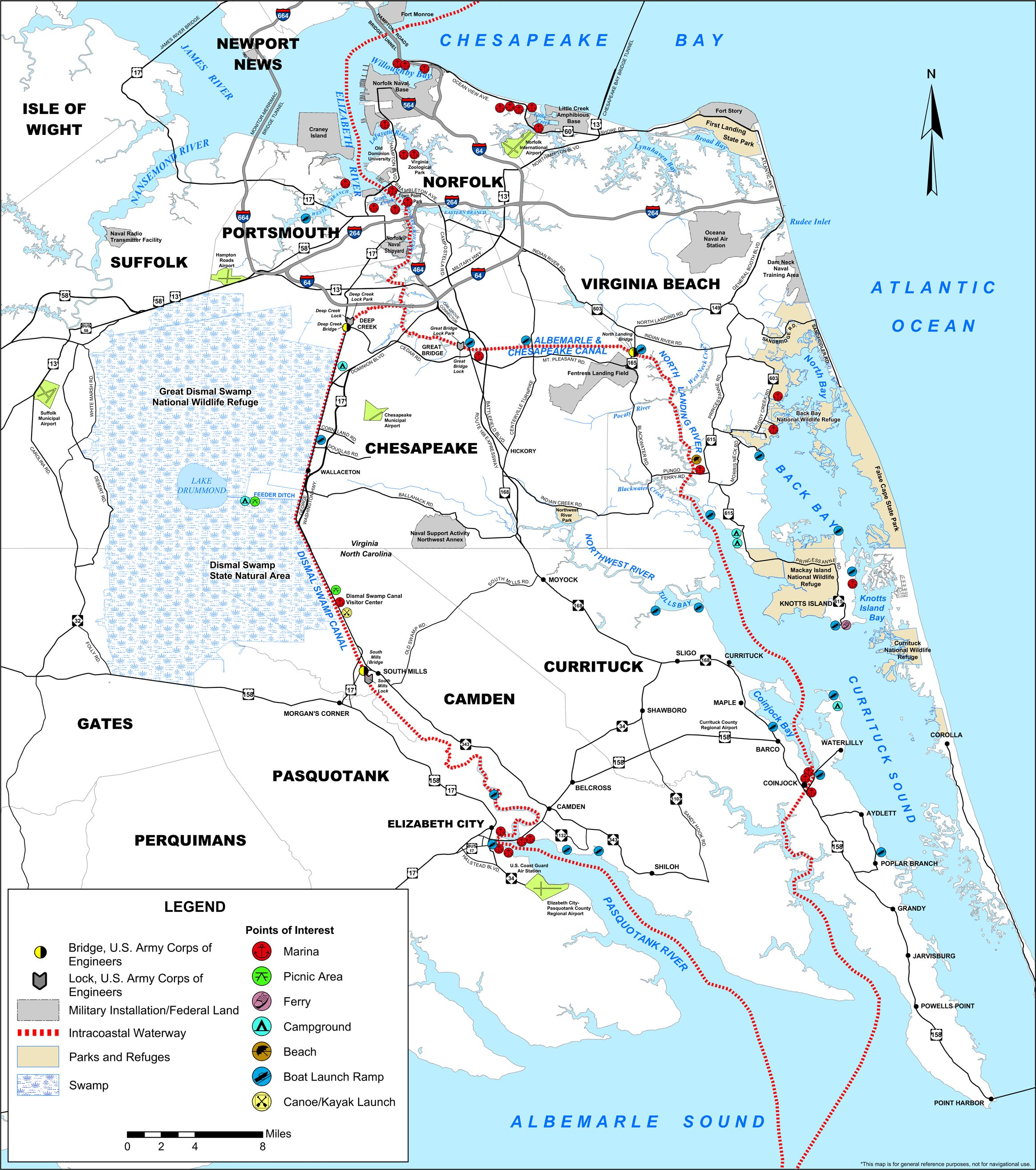 Map of the Atlantic Intracoastal Waterway