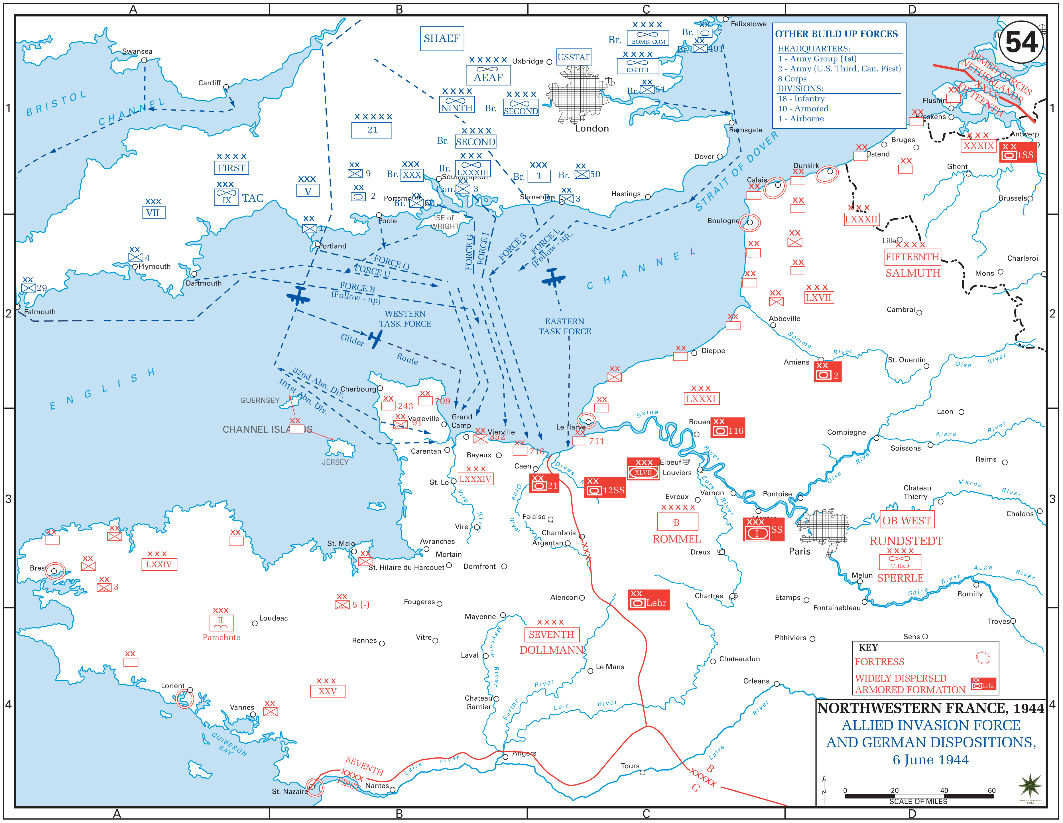 Routes used to cross the English Channel and landing points in Normandy