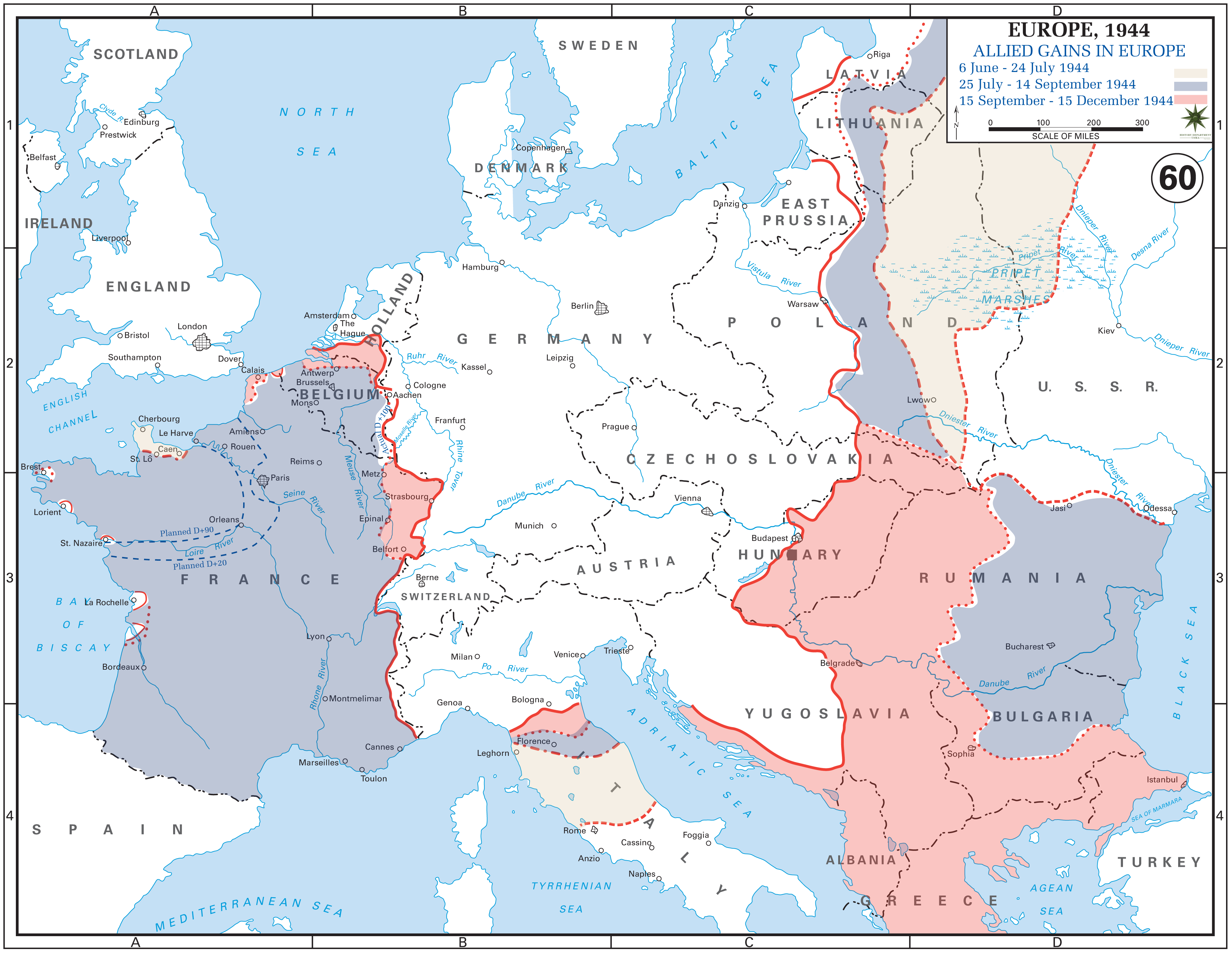 Allied gains in Europe between June and December 1944.