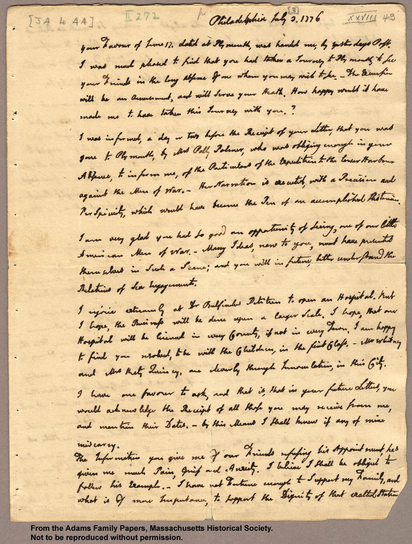 letter to john adams from abigail In this letter, john adams offers his wife abigail information and opinions about   you justly complain of my short letters, but the critical state of things and the.