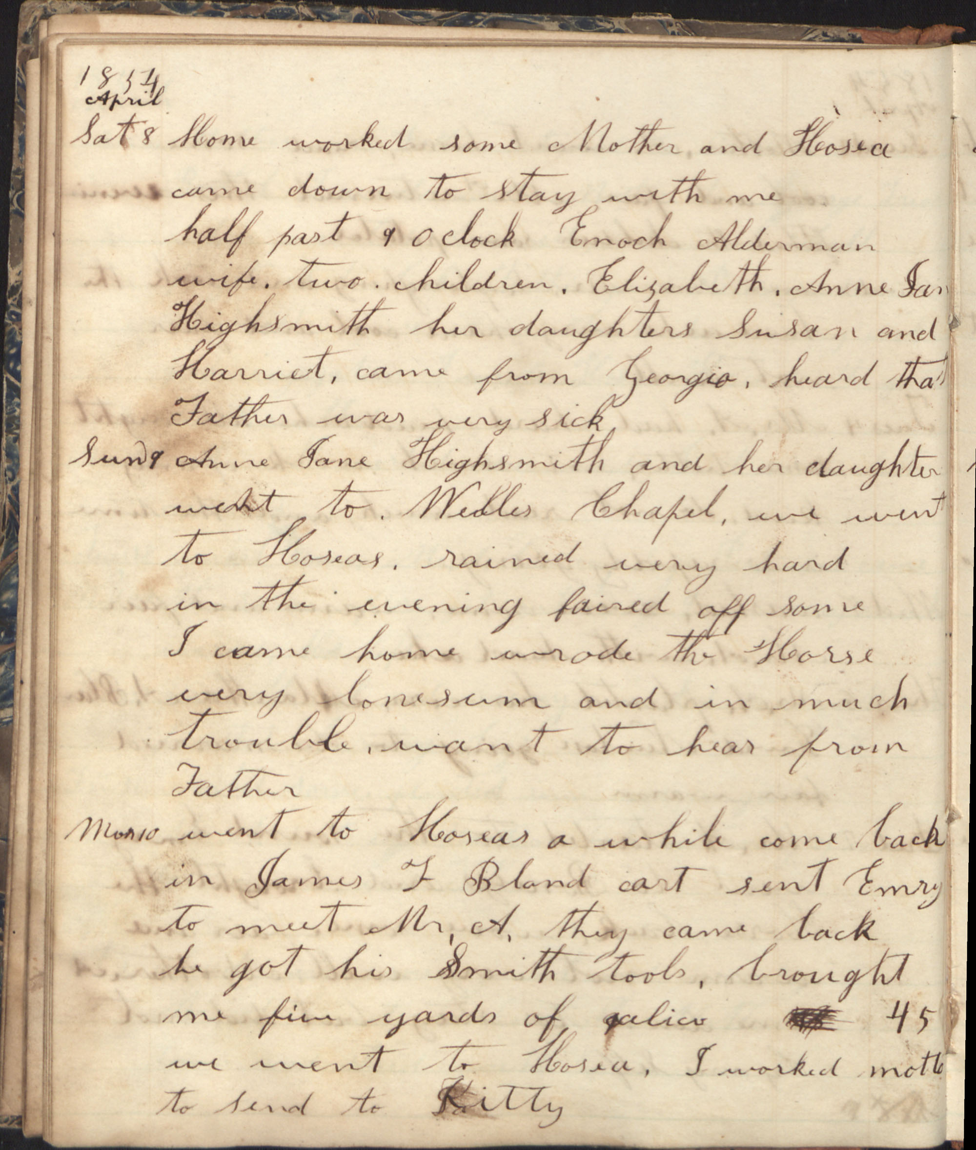 Page from Penelope Alderman diary