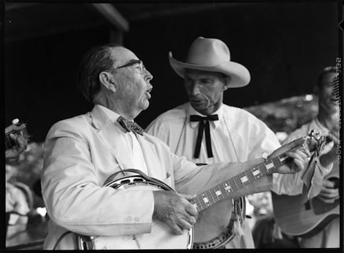 Bascom Lamar Lunsford and George Pegram play banjos