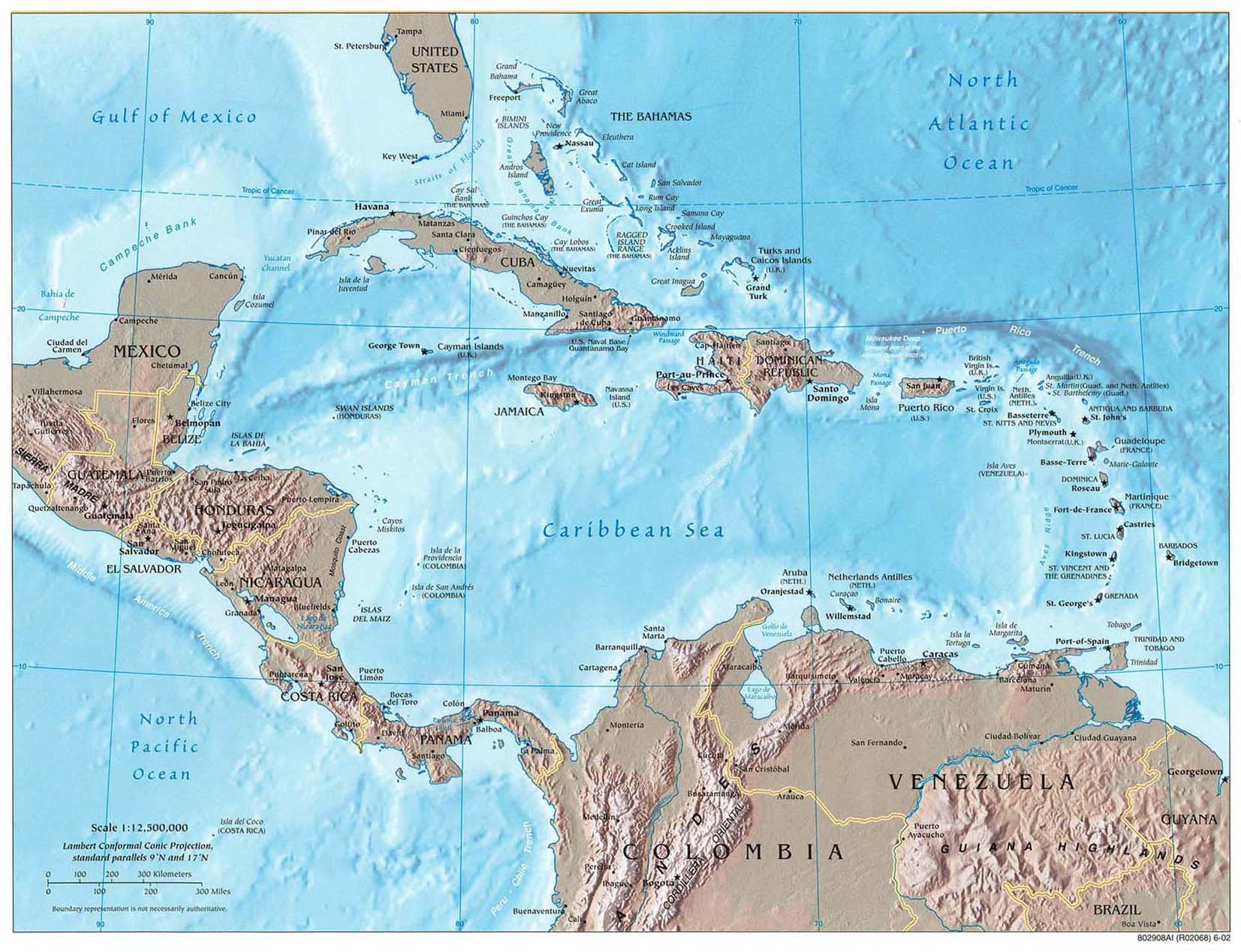 Reference map of Central America and the Caribbean