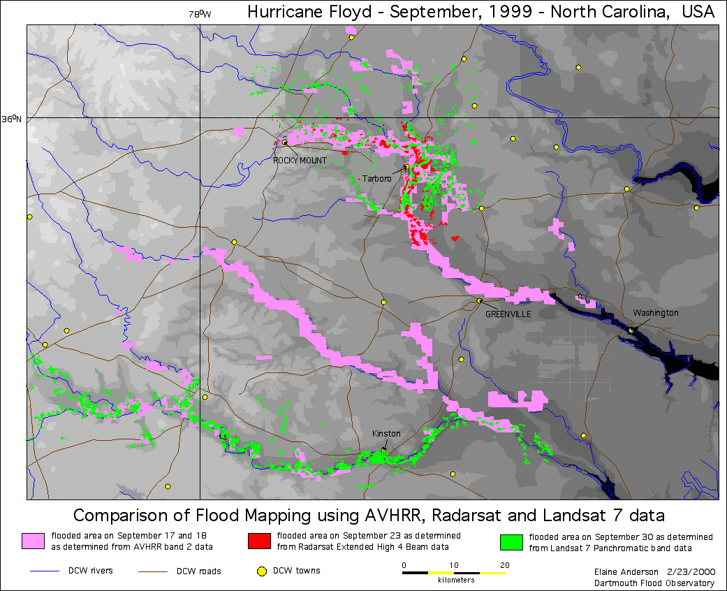 comparisons of the flood data collected by AVHRR, Radarsat, and Landsat 7