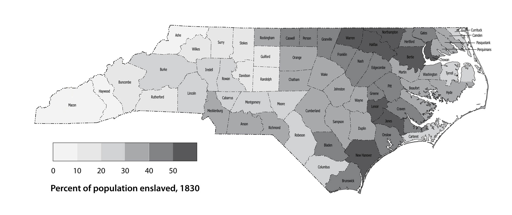 North Carolina population: Percent enslaved by county, 1830