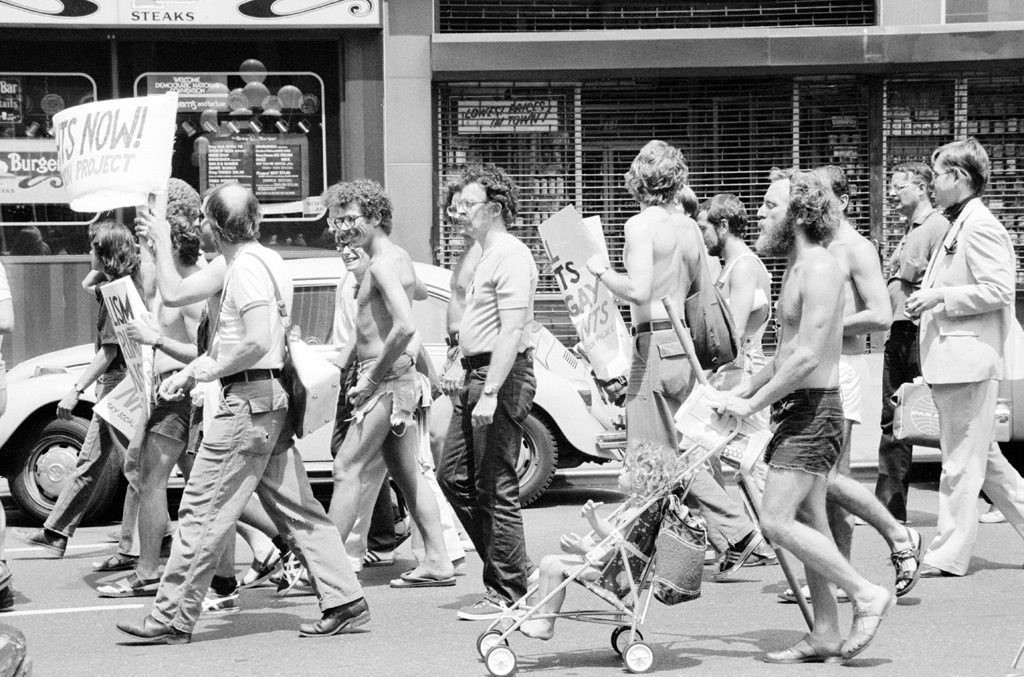 Gay rights activists demonstrate during the 1976 Democratic National Convention in New York City.