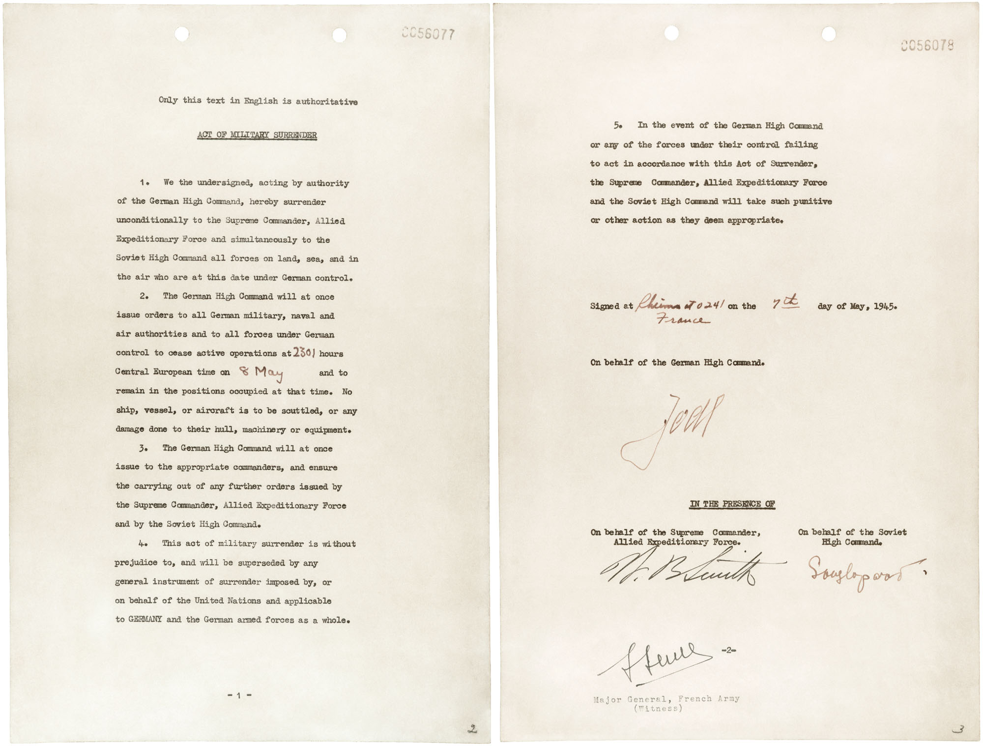 The instrument of surrender, signed May 7, 1945