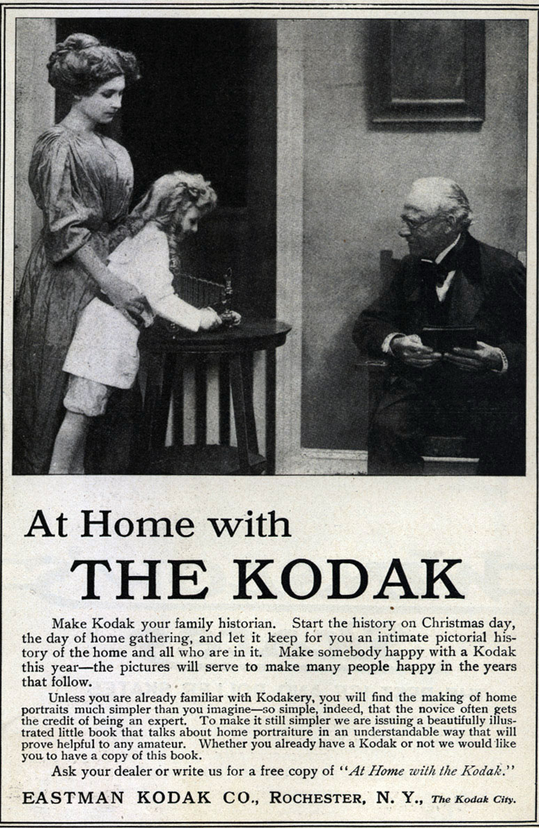 Magazine ad for Kodak cameras, 1910.