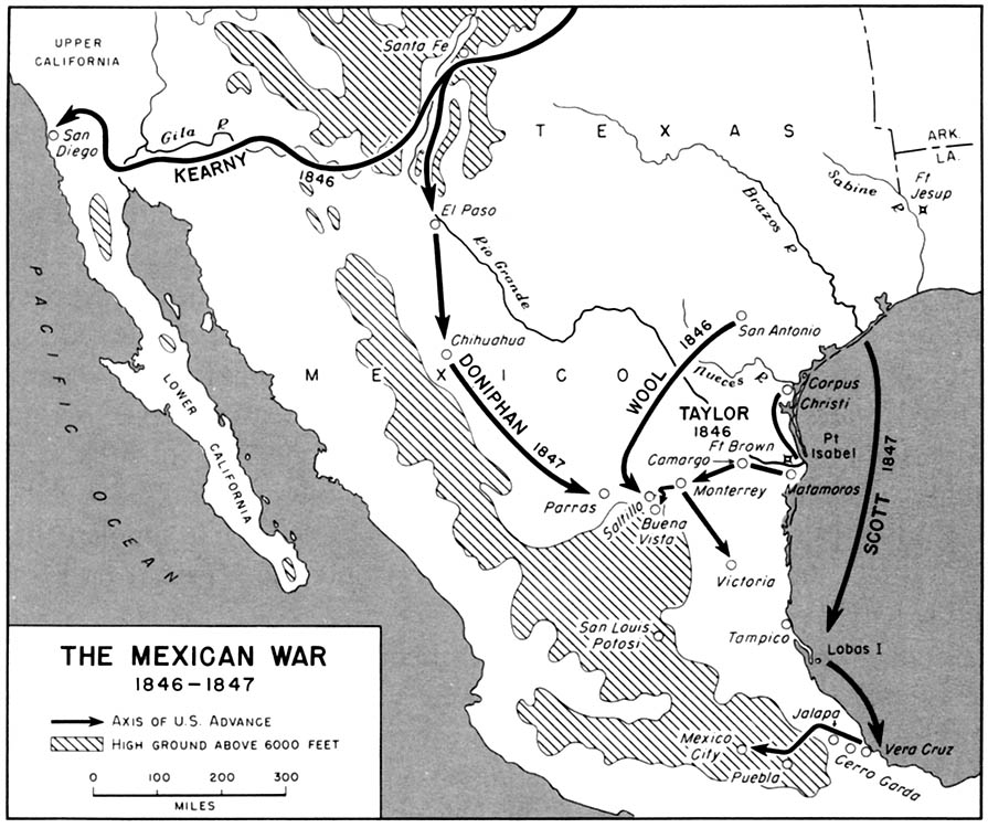 Map of operations in the Mexican-American War.