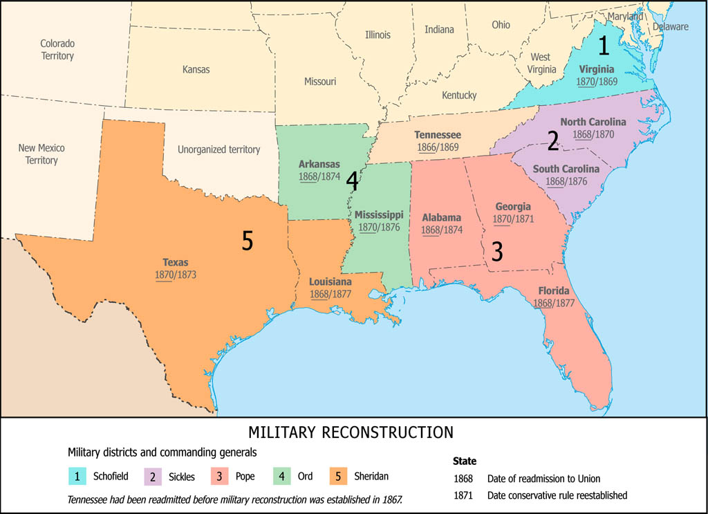 Map of military reconstruction districts