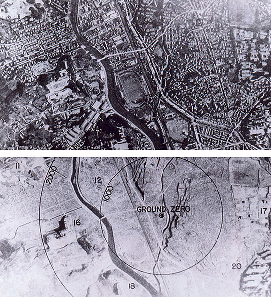 Aerial photos taken before and after the atomic bomb was dropped on Nagasaki