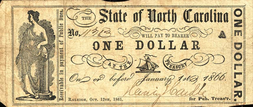 one-dollar note, 1861
