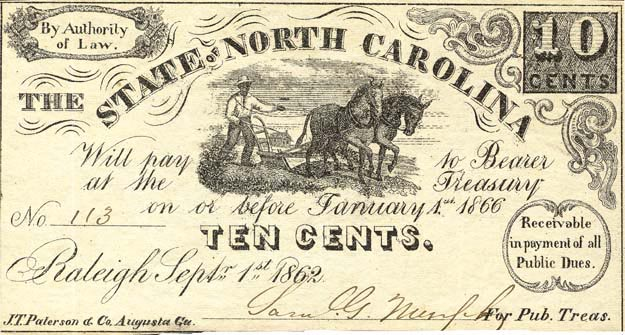 ten-cent note, 1862