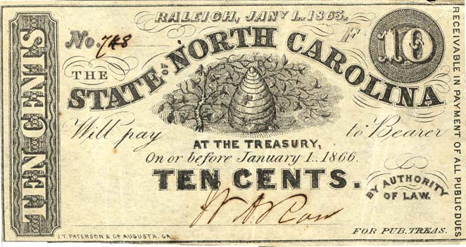 ten-cent note, 1863