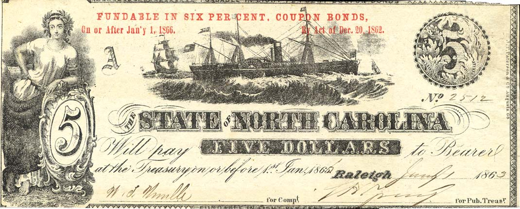 five-dollar note, 1863
