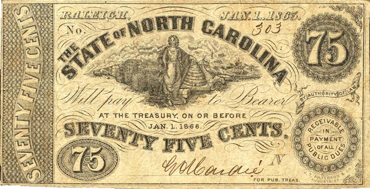 75 cent note, 1863