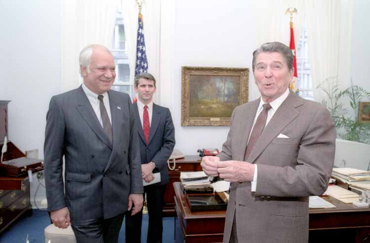 Ronald Reagan and Adolfo Calero