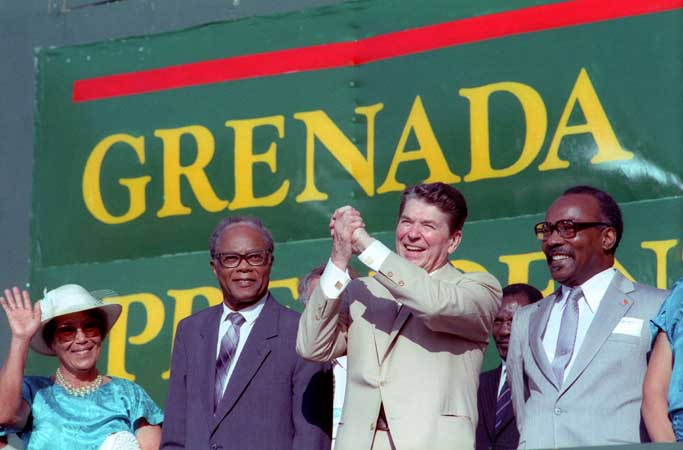 President Reagan speaks to the citizens of Grenada