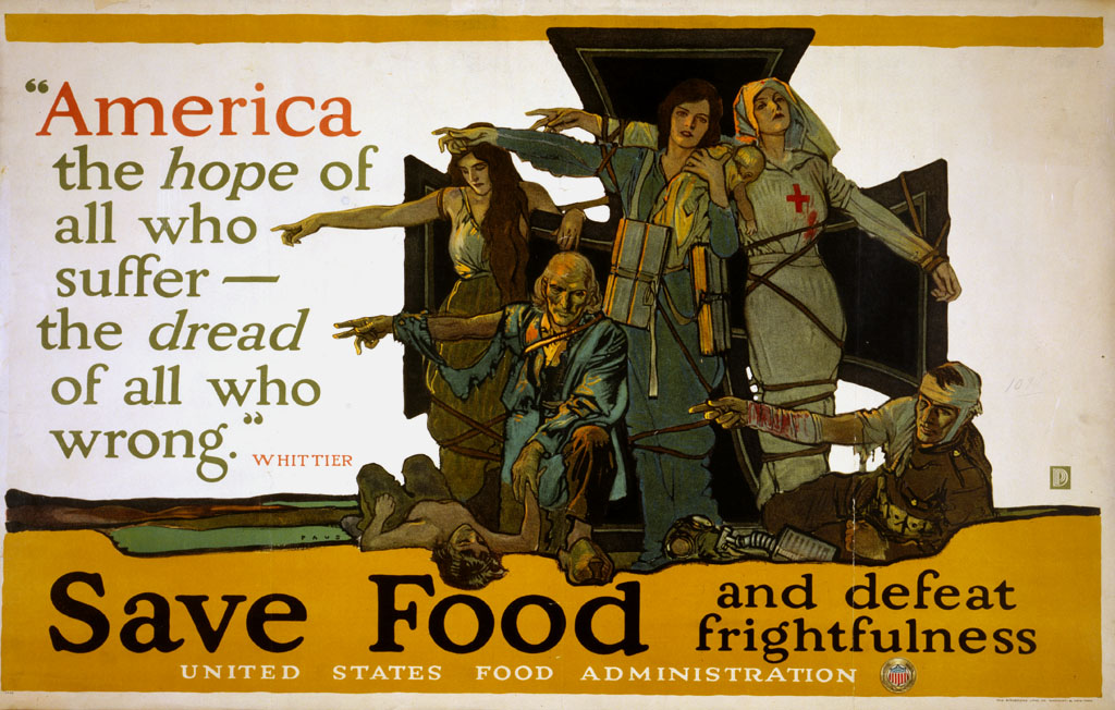 Government-produced posters urged Americans to save food during World War I