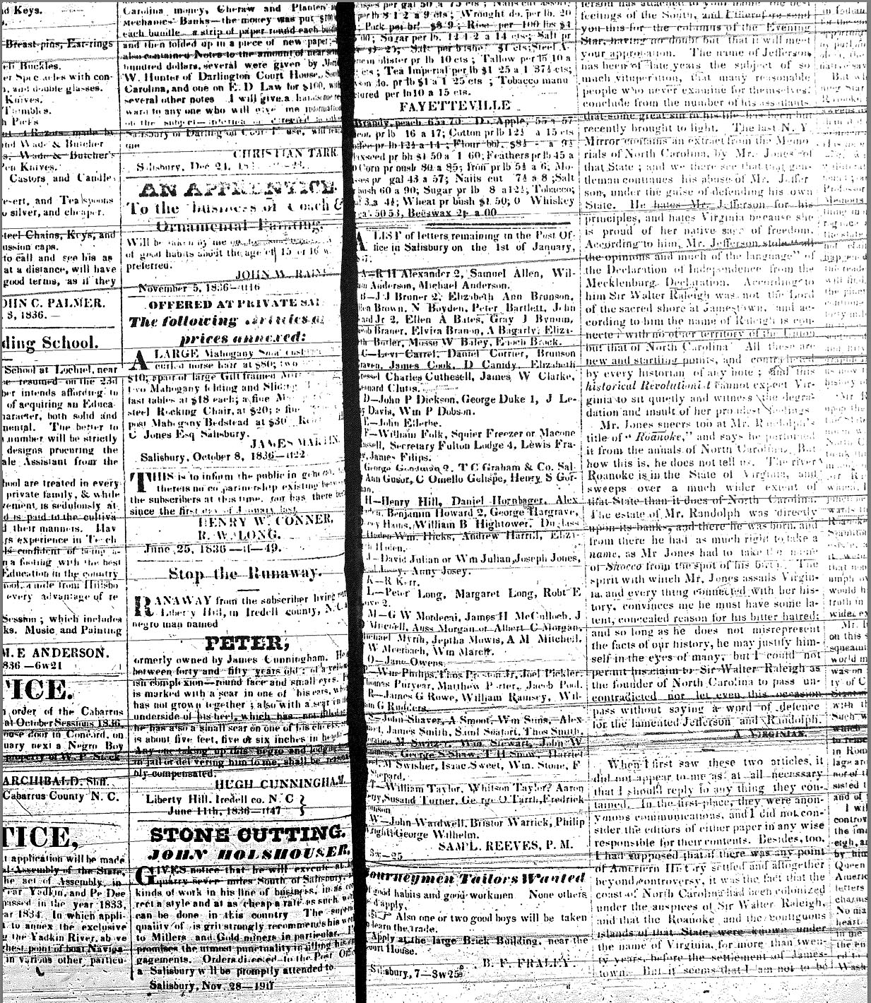 Carolina Watchman ads: January 7, 1837