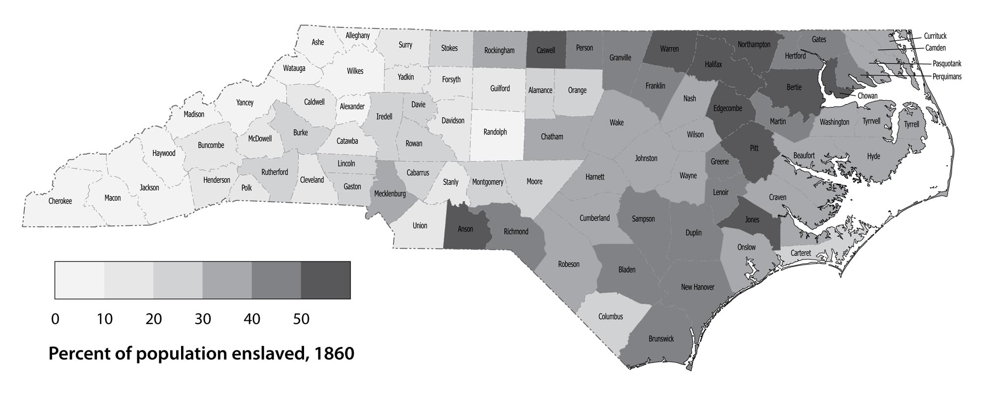 North Carolina population: Percent enslaved by county, 1860