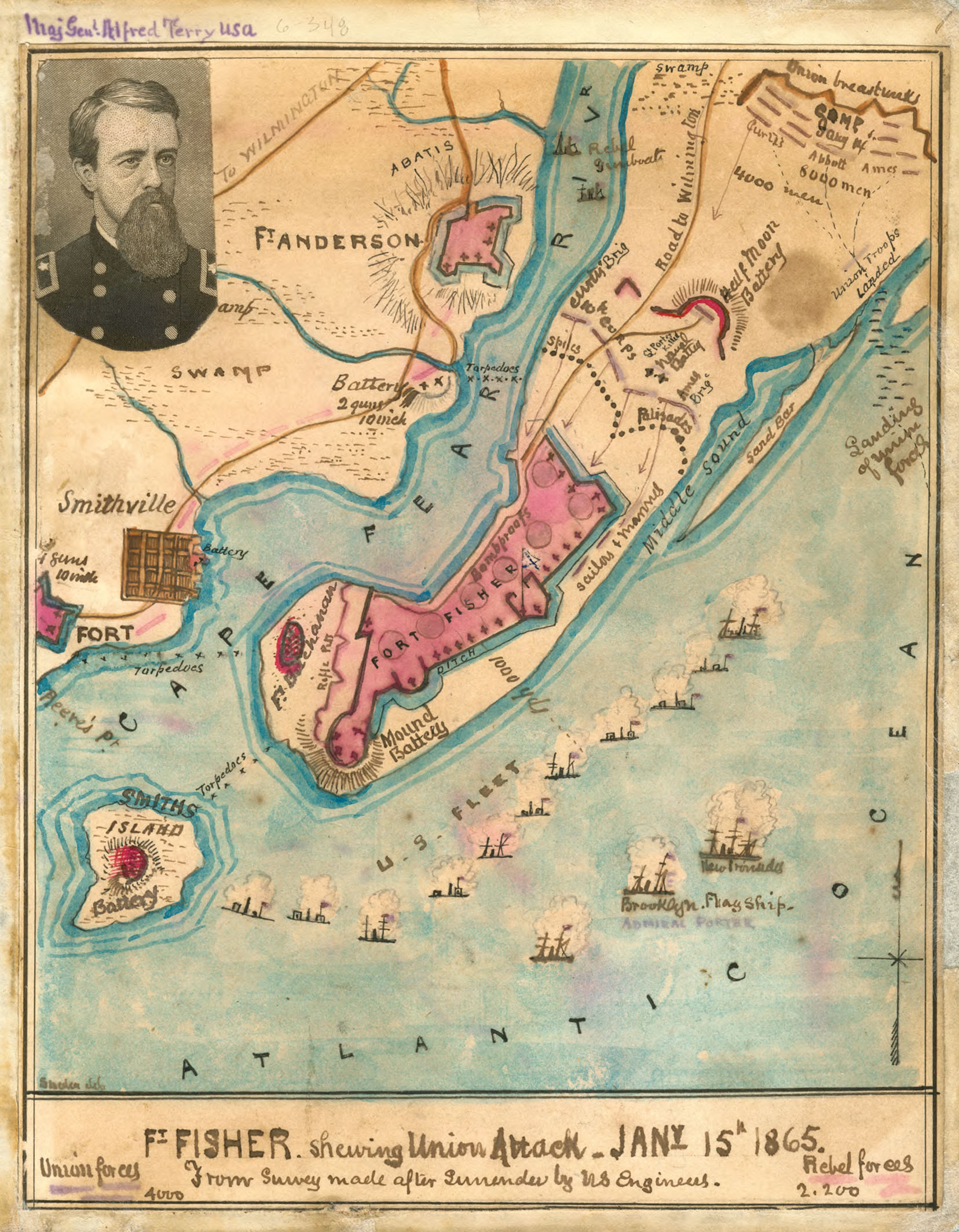A map of the Union attack on Fort Fisher, 1865