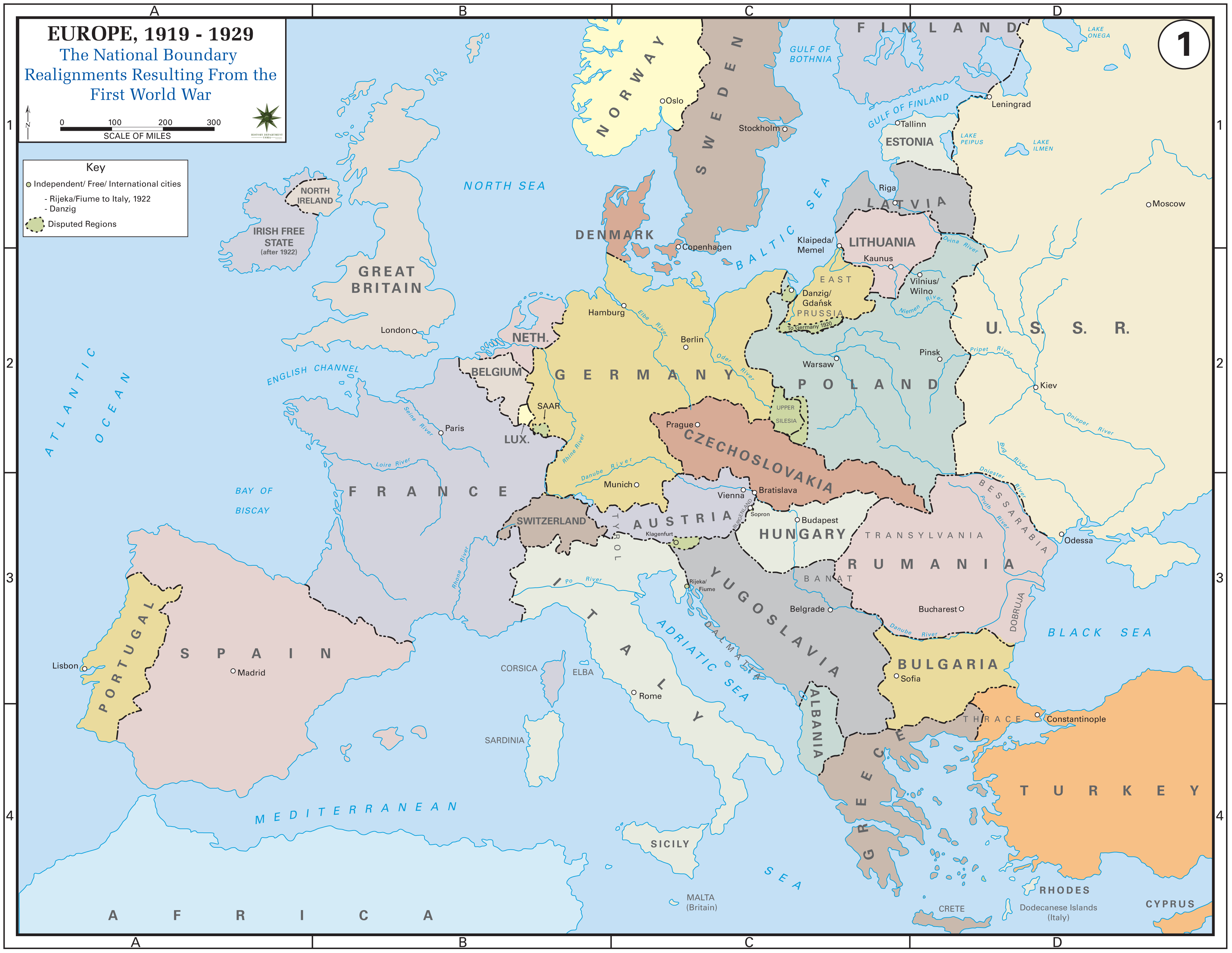 Europe after the Treaty of Versailles, 1919