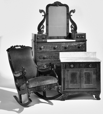 A rocking chair, bureau, and washstand made by free black cabinetmaker Thomas Day for David S. Reid, governor of North Carolina from 1851 to 1854. North Carolina Museum of History.